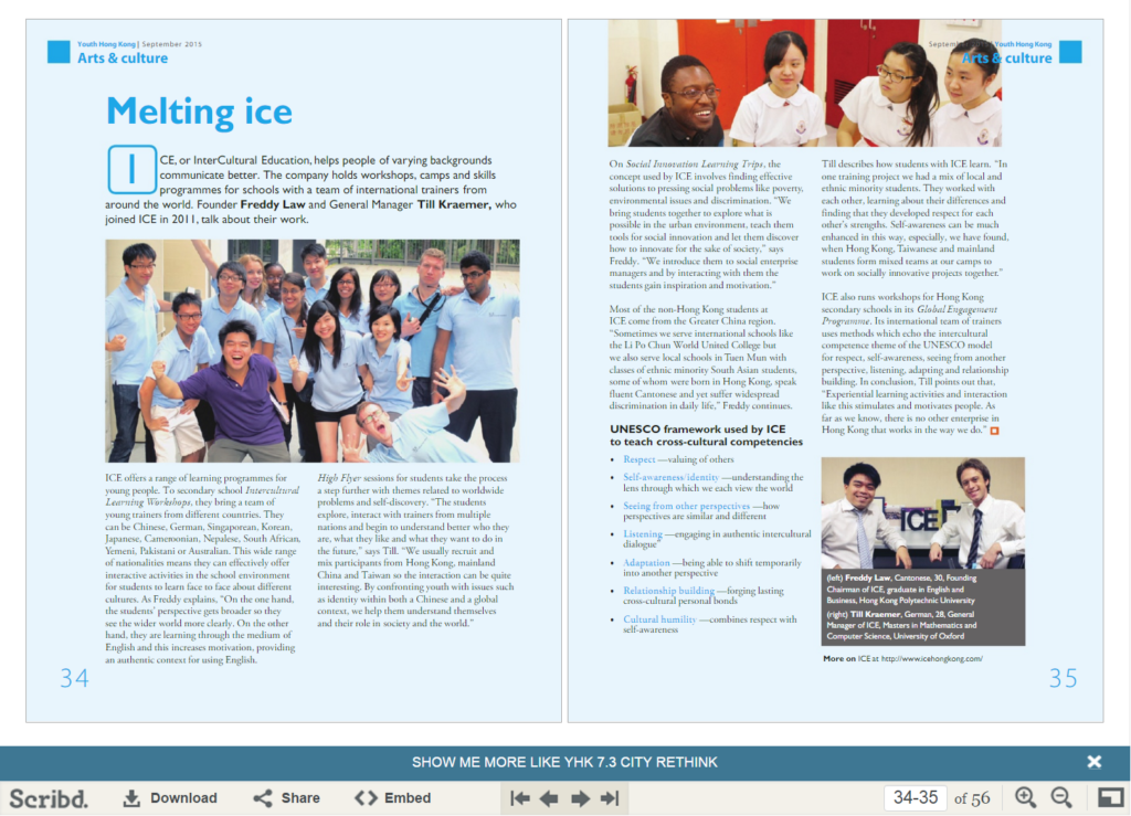 ICE on Hong Kong Federation of Youth Groups Sept 2015 magazine