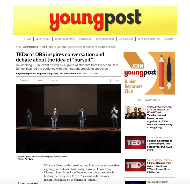 Youngpost featuring Till Kraemer giving a TEDx speech in DBS HK.