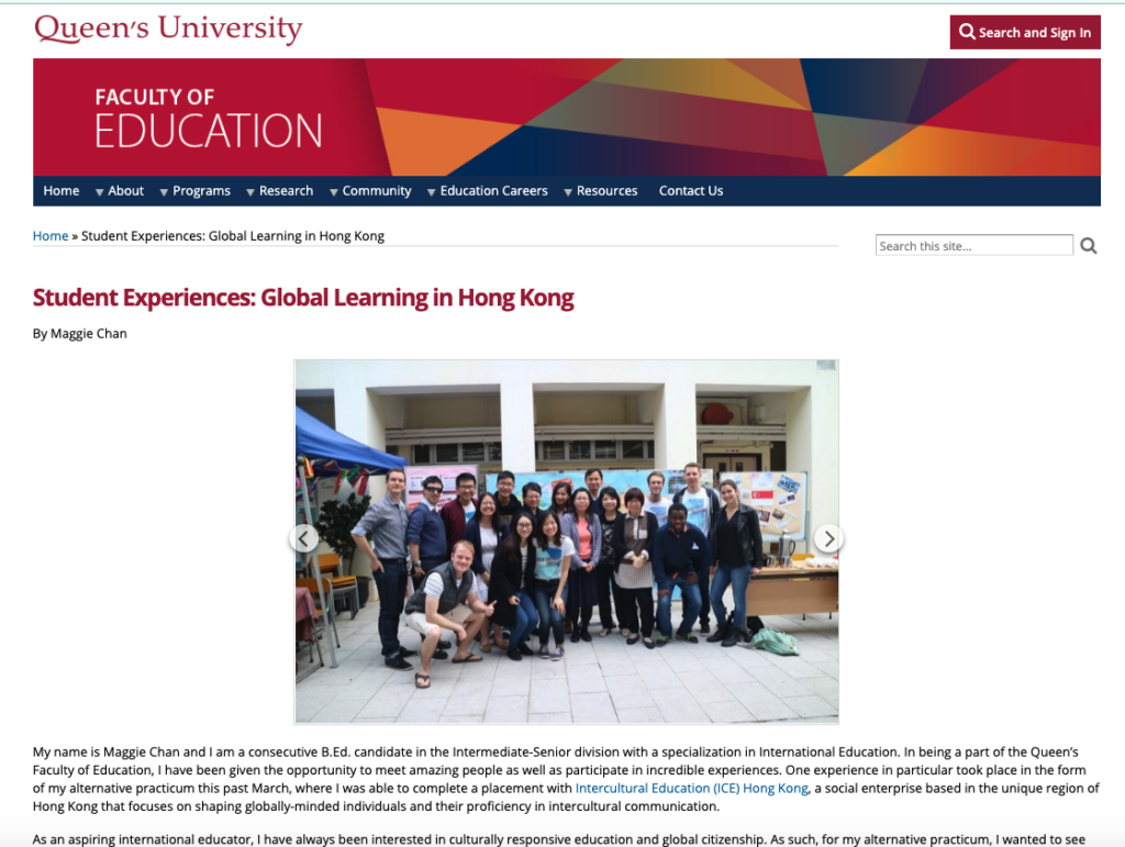 A teacher trainee in Queen\'s University wrote about her practicum experience with ICE